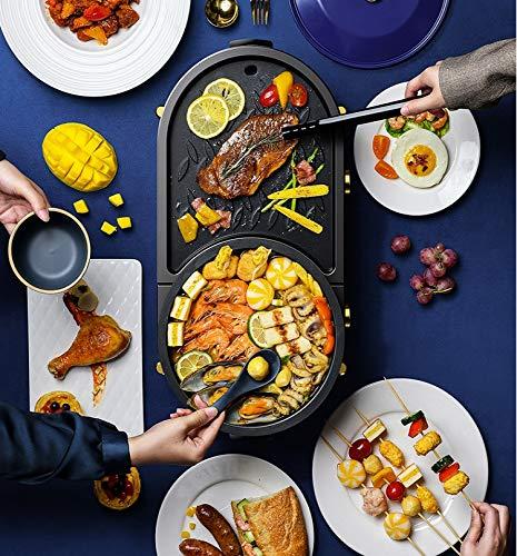 51q6PT0+GgL - KOIUJ Haushalt Multi-Funktions-Grill Bratpfanne Dual Purpose Barbecue Hot Pot EIN Pot Elektro Hot Pot Elektro-Backen-Wannen-Rinse-Wannen-Koch Pan gegrillte Pan-Blau