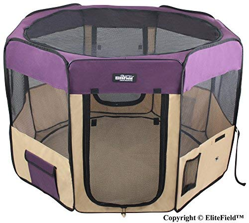 "EliteField 2-Door Soft Pet Playpen, Exercise Pen, Multiple Sizes and Colors Available for Dogs, Cats and Other Pets (52"" x 52"" x 32""H, Purple+Beige) Playpens"
