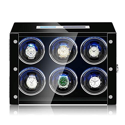 YLJYJ Caja enrolladora de Reloj de 6 bobinas, Caja giratoria giratoria, Motor silencioso, Reloj mecánico de Cuerda automática, Almacenamiento de Pantalla para Relojes de Hombres y Mujeres