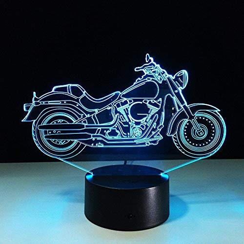 3D Night Light Motor Moto 7 colores que cambian la lámpara de escritorio táctil para niños cumpleaños regalos de Navidad