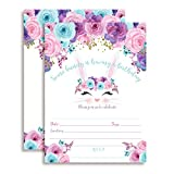 Bunny Face with Pink Blue and Purple Watercolor Flowers Easter Birthday Party Invitations for Girls, 20 5