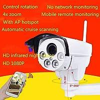 360度回転ワイヤレス監視カメラ、携帯電話リモート屋外防水ズームモニターカメラ