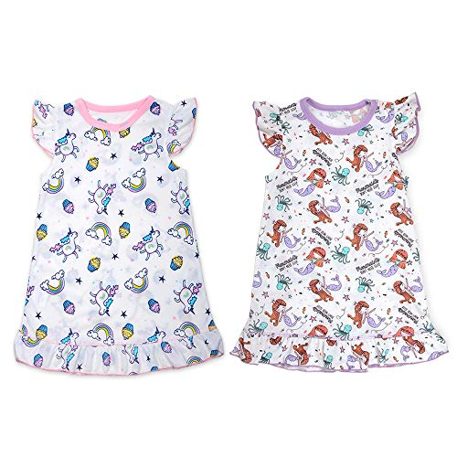 Image of Fun 2 Pack Cartoon Mermaid and Unicorn Nightgowns for Girls - Age 2 to 11 Sizes
