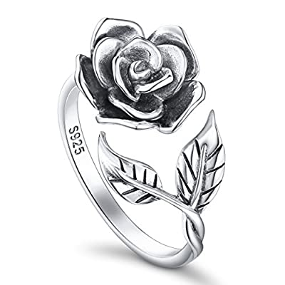 Alphm Rose Flower Ring Women S925 Oxidized Sterling Silver Adjustable Floral Rings 9
