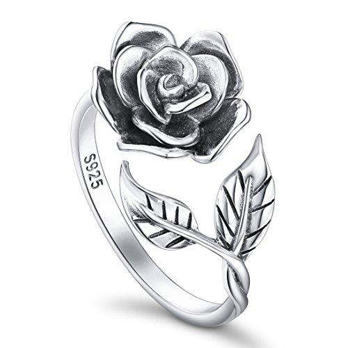 DAOCHONG - Anello aperto a forma di rosa, da donna, in argento Sterling S925, anello regolabile, regalo romantico per una donna e Argento, 13,5, colore: Oxidized N 1/2, cod. G6APE1806005A3