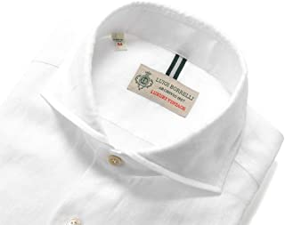 ルイジボレッリ ルイジボレリ LUIGI BORRELLI / 20SS!製品洗いリネンポプリン無地ホリゾンタルカラーシャツ「NA35(9129)」 (ホワイト) メンズ