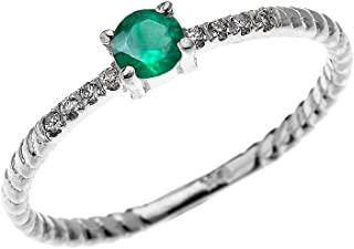 10k White Gold Dainty Diamond and Solitaire Emerald Rope Design Stackable/Proposal Ring