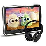 NOAUKA 10.1' Ultra Thin Portable Digital HD TFT LCD Headrest DVD Player Car Multimedia Wide Screen Display Player Headrest Monitor with HDMI and Remote Control and IR Headphone