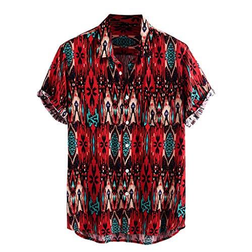 Yowablo Chemises Hommes Imprimé Col Rabattu Manches Courtes Décontracté (3XL,18Rouge)