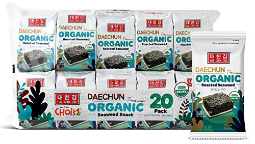 Organic DAECHUN(Choi's1) Seaweed Snacks, 20 Pack, Original, Product of Korea