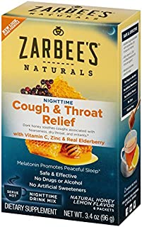 Zarbee's Naturals Cough & Throat Relief Nighttime Drink Mix, Natural Honey Lemon Flavor, 6 Packets