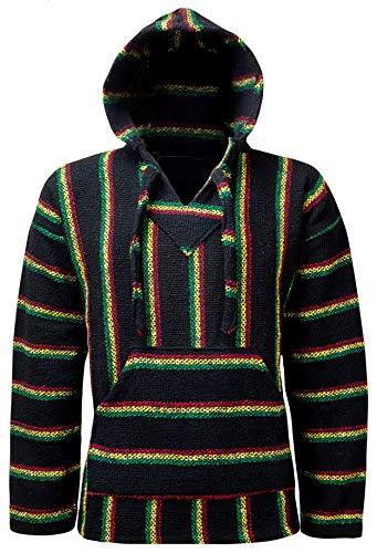Öland Outdoors Baja Hippie, Kapuzenpullover, mexikanischer Poncho, für Herren, Damen, Jungen, Mädchen - Hergestellt in Mexiko - (Original 4 Farbstreifen-Kapuzenpullover) Gr. Large, rasta