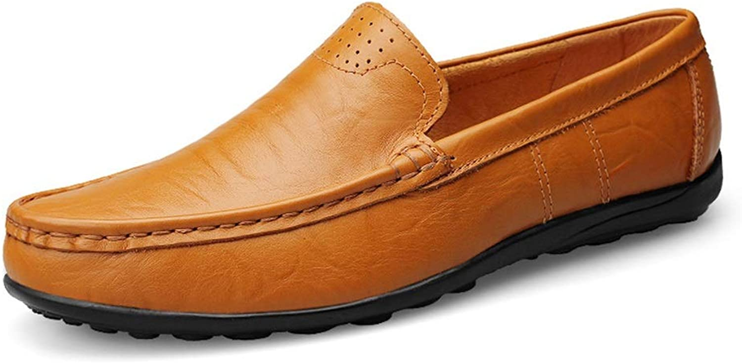 Mens loafers Flats Men's Business Casual Leather Penny Loafers Dress Dresses Wedding shoes Flat Round Head Covers Penetrating Slip-on Slippers (color   Yellowish-brown, Size   6.5 UK)