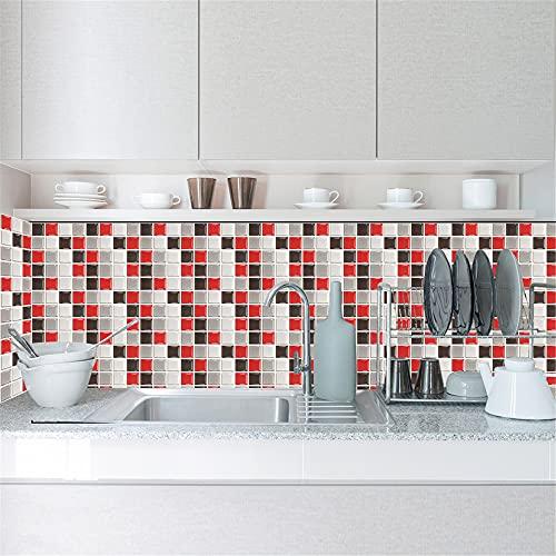 HQL 10PCS Pegatinas de Azulejos de Mosaico de Pared, Papel Pintado Autoadhesivo de Bricolaje, Calcomanías de Arte de Pared de Azulejos de baño de Cocina, Decoración de Pared del hogar, 10 x 10 cm