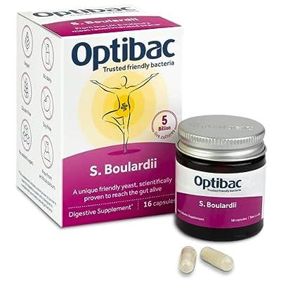 Optibac Saccharomyces Boulardii | Digestive Vegan Supplement | 5 Billion | 16 Capsules