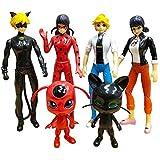 Genericc Ladybug 6pcs Action Figure and cat Noir Miraculous Action Figures - Miraculous Toy Set Minifigures Tikki Dolls 6 Set