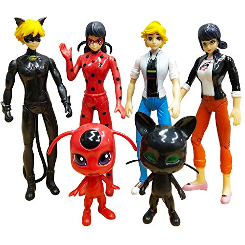Ladybug 6pcs Action Figure and cat Noir Miraculous Action Figures - Miraculous Toy Set Minifigures Tikki Dolls 6 Set – Miraculous Toys