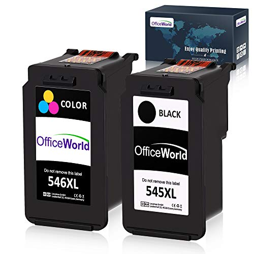 OfficeWorld PG-545XL CL-546XL Reemplazo para Canon PG-545 CL-546 XL Cartuchos de tinta para Canon Pixma MG2400 MG2500 MG2550 MG2550S MG2555 MG2555S MG3050 MX495 MX490 iP2800 iP2850, Negro/Tricolor