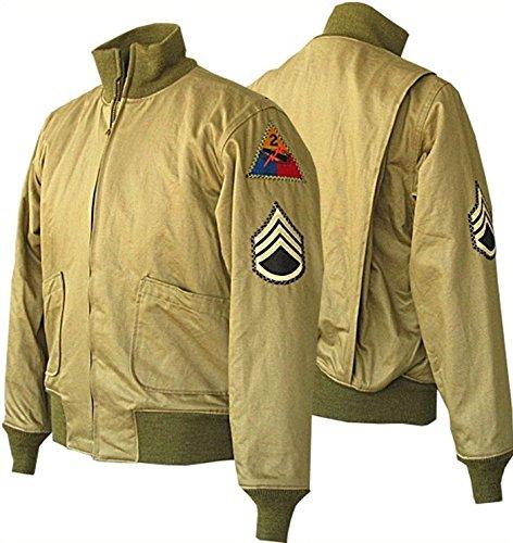 Fury Brad Pitt WW2 Military Style German Bomber Men's Cotton Jacket | Cotton US Army Tanker Jacket | Fury Cotton Jacket | Khaki Bomber Jacket | Fury Brad Pitt Jacket | Fury WW2 Tanker Jacket (XL)