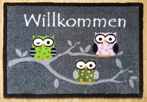 Trendstern Trendprodukteshop Fußmatte Fußabtreter Willkommen Schmutzmatte Eulen grau Eule Owl