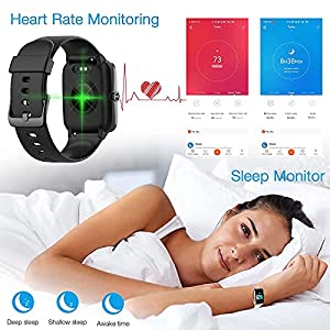 Fitpolo Fitness Tracker Watch with Heart Rate and Sleep Monitor - Activity Tracker Waterproof Smart Wristband Watch, Step Calorie Counter, Pedometer Android iPhone Compatible for Women Men Kids