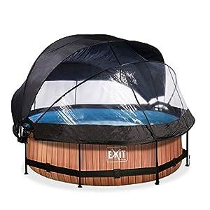 EXIT Piscina de madera de 300 x 76 cm con cubierta, toldo y bomba de filtro, color marrón