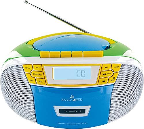 SCHWAIGER -661644- Tragbarer CD-Player mit Kassette und UKW FM Radio MP3 USB AUX-IN Kopfhörer Boombox 2,4 W RMS Stereo Batterie/Netzbetrieb