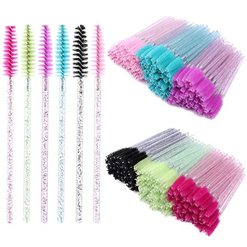 300 Disposable Mascara Wands Eyelash Brush Spoolies for Eye Lash Extension, Eyebrow and Makeup Crystal