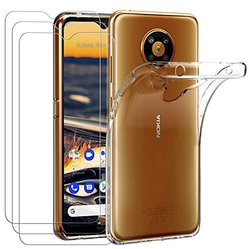 ivoler Hülle für Nokia 5.3, mit 3 Stück Panzerglas Schutzfolie, Dünne Weiche TPU Silikon Transparent Stoßfest Schutzhülle Durchsichtige Handyhülle Kratzfest Hülle