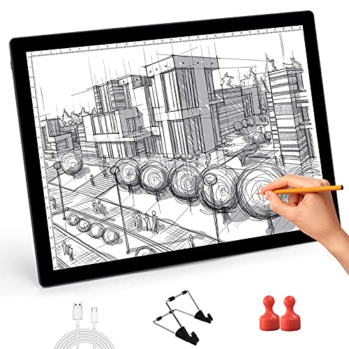 Rechargeable A4 LED Light Box for Tracing 5-Levels Dimmable USB Powered Light Pad Light Board with Stand & Magnets for Diamond Painting Drawing Sketching Animation