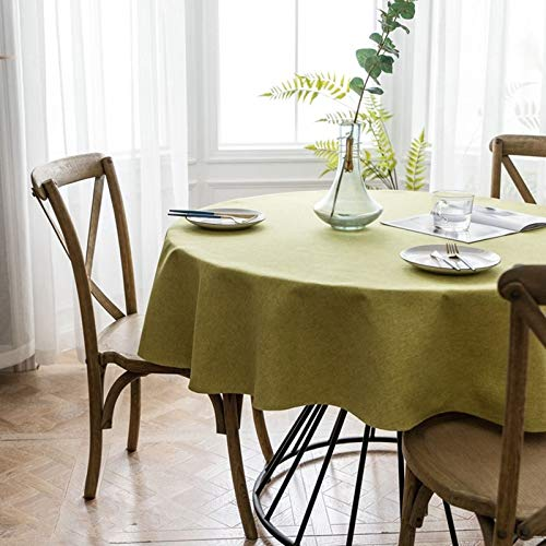 Daesar Mantel Mesa Rectangular,Mantel Poliester Color Sólido Simple Amarillo Verde Mantel 130x130CM