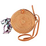Round Rattan Bags Woman Handwoven Straw Purse Bag Crossbody Shoulder Leather Straps Natural Chic Leather Buckle