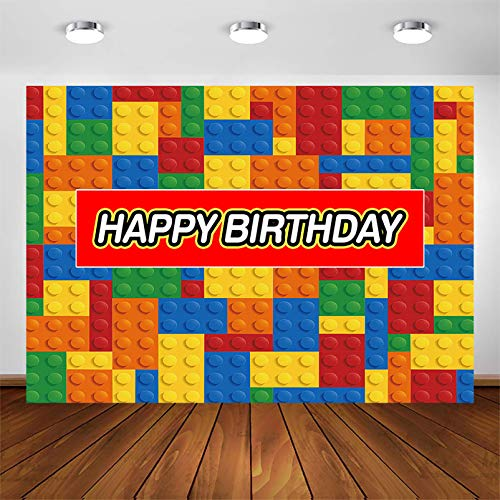 COMOPHOTO 7x5ft Building Blocks Birthday Party Backdrop Boy Girl Baby Child Birthday Cake Table Banner Colorful Decorations Photo Booth Background Supplies