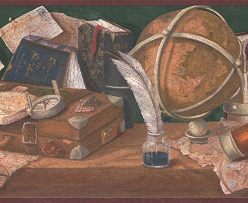 Retro Art Mittelalterliche Werkbank - Globus Tintenfass mit Feder Karte Bücher Kompass Sanduhr Lunar grüne Tapete Grenze Retro-Design, Roll-15' x 10,25 ''