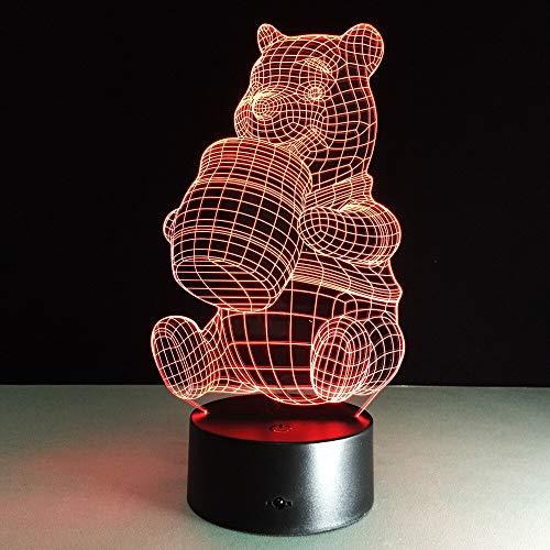 Luces Neon Pared Lámpara de Mesa para Beber Oso Lindo 7 Cambios de Color Luces LED 3D Regalo de cumpleaños Navidad