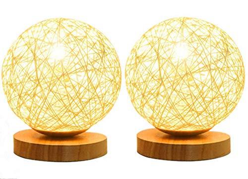 Sazuitou 2per Creative Ronde hennep bal LED tafellamp, handgeweven natuurlijke rotan handwerk hoogwaardige nachtkastverlichting decoratieve tafellamp