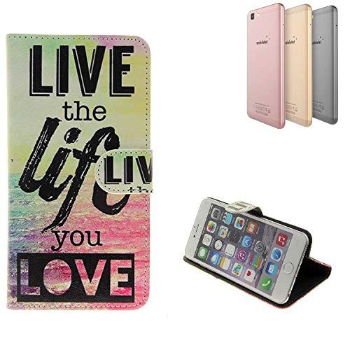 K-S-Trade Schutzhülle Für Mobistel Cynus F10 Schutz Hülle 360° Wallet Case ''live Life Love'' Schutzhülle Handy Tasche Handyhülle Etui Smartphone Flip Cover Standfunktion (1x)