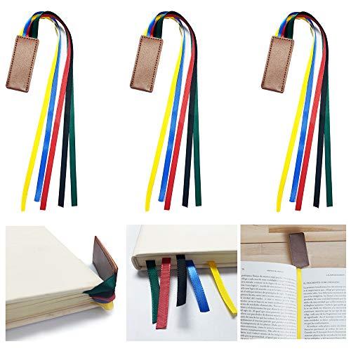 Faletony 3 Stück Band Lesezeichen Kunstleder Lesezeichen Buchmarkierungen Set Ideales Geschenk für Studenten Büro Bücher Lesen Briefpapier
