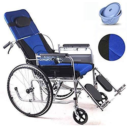 SUNBJ Rollstuhl mit Selbstantrieb, Faltbare Rollstuhl Rollstuhl mit WC und hohe Rückenlehne Reclining Rollstuhl for Behinderte/ältere Tretroller (Color : Blue)