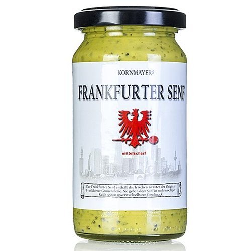 Kornmayer Frankfurter Senf, Mittelscharf, Mit Grüne Soße Kräutern, 210 ml
