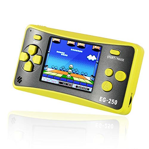 Easegmer Handheld Game Console for Kids Adults, EG-250 Retro Portable Video Games Console, Built-in 200 Games 12 Bit 2.5 Inch LCD Arcade Gaming Family Games Player, Best Gift for Boys Girls-Yellow