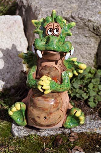 Rostalgie Keramik Drache Darius betend 24 x 16 cm Handarbeit Töpferfigur Garten Deko