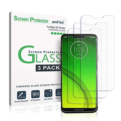 amFilm Moto G7 Power Protector Pantalla (3 Piezas), Cristal Vidrio Templado Protector de Pantalla para Motorola Moto G7 Power (2019)