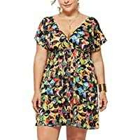 Lover-Beauty Vestido Talla Grande Mujer Vestido Corto Mujer Verano Floral Cuello V Falda Floral Vestido Bohemia Plus Size Playa Sexy Vacación