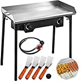 Happybuy Double Burner Stove Griddle Flat Top 32x17 inches 2 Burner Propane Gas Grill Griddle...