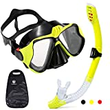 Dry Snorkel Set, Anti-Fog & Anti-Leak Scuba Diving Mask, Panoramic Wide View Tempered Glass Easy Breathing Diving Goggles with Sports Camera Mount, Food-Grade Silicone Diving Kit for Adults Women Men