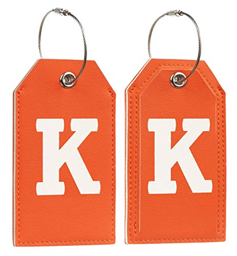 Initial Letter Luggage Tag 2 Pack with Full Privacy Cover and Travel Bag Tag Orange by Toughergun (K)