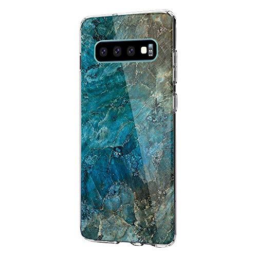 kkkie Hülle kompatibel Galaxy S10 / S10+, Transparent Silikon Case TPU Bumper Schutzhülle Marmor Blumen Muster HandyHülle für Galaxy S10e (1, Galaxy S10)