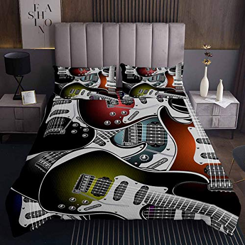 Loussiesd Popstar - Juego de colcha de guitarra para niños y adultos, diseño musical, para decoración de habitación, 3 piezas, con 2 fundas de almohada de tamaño doble