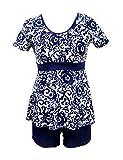 JadeRich - Conjunto de traje de baño de dos piezas con cuello redondo y control de abdomen exótico oriental para mujer Azul Porcelain Navy Large